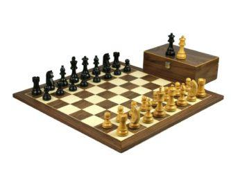 Executive Range Wooden Chess Set Walnut Board 20″ Weighted Ebonised German Staunton Pieces 3.75″