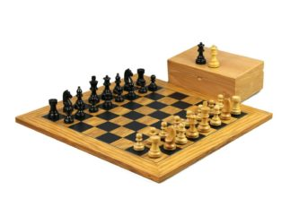 Executive Range Wooden Chess Set Olive Board 18″ Weighted Ebonised German Staunton Pieces 3″