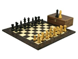 Executive Range Wooden Chess Set Tiger Ebony Board 20″ Weighted Ebonised Staunton French Knight Pieces 3.75″