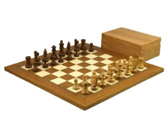 Executive Range Wooden Chess Set Teak Board 18″ Weighted Sheesham French Knight Pieces 3″