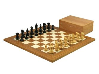 Executive Range Wooden Chess Set Teak Board 18″ Weighted Ebonised French Knight Pieces 3″