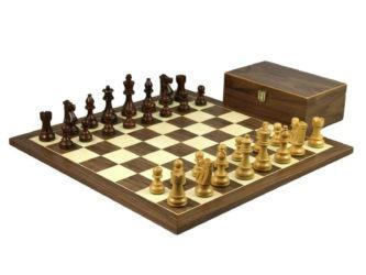 Executive Range Wooden Chess Set Walnut Board 20″ Weighted Sheesham Staunton French Knight Pieces 3.75″