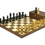 Executive Range Wooden Chess Set Walnut Board 20″ Weighted Ebonised Staunton French Knight 3.75″