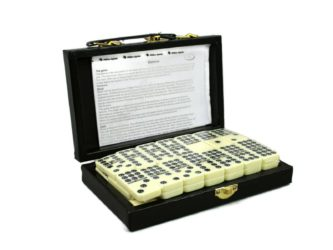 Double 9 Dominoes in Leather Case