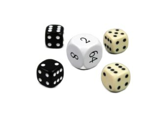 """Dice Set With Doubling Dice """"White"""""""