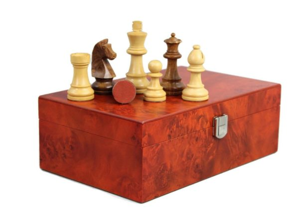 chess pieces with rosewood storage box