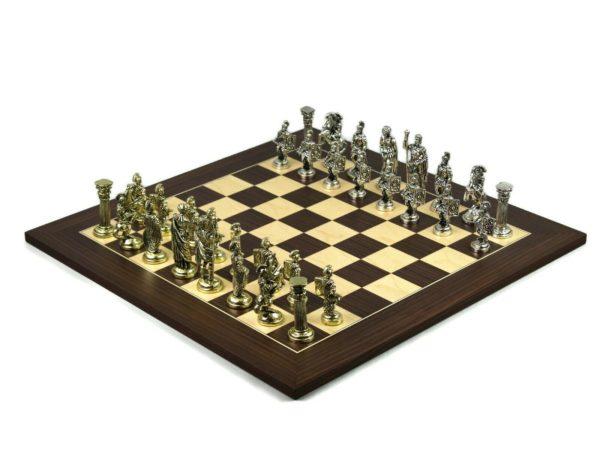 metal chess set macassar board