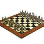 Metal Range Chess Set Palisander & Maple Board 20″ With Roman Metal Chess 3.8″