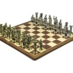 Executive Range Chess Set Walnut & Maple Board with Metal Chess Pieces 16″