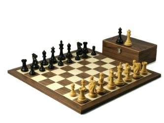 Executive Range Wooden Chess Set Walnut Board 20″ Weighted Ebonised Professional Staunton Pieces 3.75″