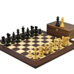 Executive Range Wooden Chess Set Macassar Board 20″ Weighted Ebonised Classic Staunton Pieces 3.75″