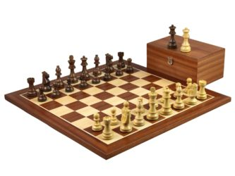 Executive Range Wooden Chess Set Mahogany Board 20″ Weighted Sheesham Staunton French Knight Pieces 3.75″