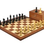 Executive Range Wooden Chess Set Mahogany Board 20″ Weighted Ebonised Professional Staunton Pieces 3.75″