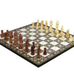 """Classic Range Wooden Chess Set With Pieces And Storage Box """"Mother of Pearl""""- 14″"""