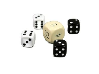 """Dice Set With Doubling Dice """"Ivory"""""""