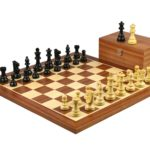 Executive Range Wooden Chess Set Mahogany Board 20″ Weighted Ebonised Staunton French Knight Pieces 3.75″