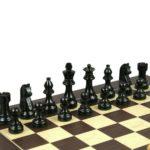 Downhead German Staunton Chess Pieces Ebonised Boxwood 3″