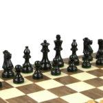 French Lardy Chess Pieces Staunton Ebonised Boxwood 3″