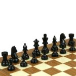 Executive Wooden Chess Set Teak Board 18″ Weighted Ebonised German Staunton Pieces 3″