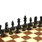 Economy Range Wooden Chess Set Mahogany Board 16″ Weighted Ebonised German Staunton Pieces 3″