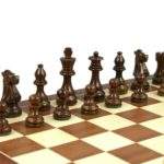 Economy Range Wooden Chess Set Mahogany Board 16″ Weighted Sheesham French Knight Pieces 3″