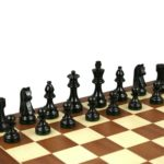 Executive Range Wooden Chess Set Mahogany Board 20″ Weighted Ebonised German Staunton Pieces 3.75″