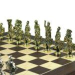 Metal Range Wooden Chess Set Macassar & Maple Board 20″ Roman Metal Pieces 3.8″