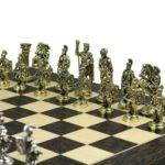 Metal Range Wooden Chess Set Tiger Ebony & Maple Board 20″ Roman Metal Pieces 3.8″