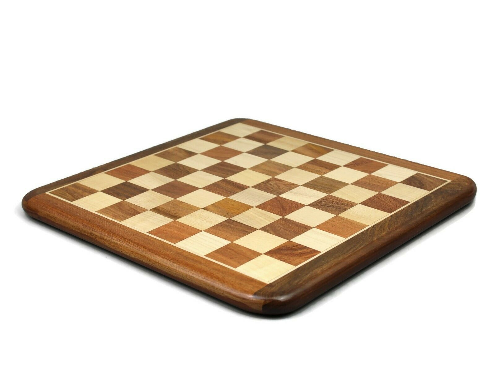 """CHESS SET SOLID SHEESHAM WOOD CARVED INLAID BOARD GAME BRAND NEW 20/"""""""