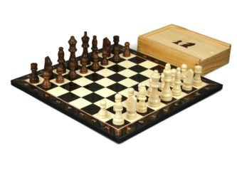 """Classic Range Wooden Chess Set With Pieces and Storage Box """"Walnut""""- 14″"""
