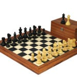 Executive Range Wooden Chess Set Palisander Board 20″ Weighted Ebonised Classic Staunton Pieces 3.75″