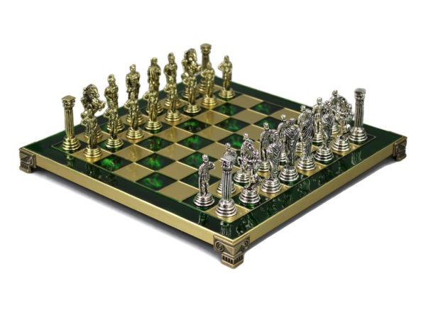 emerald green metal chess set from our range of chess sets that has been made in greece