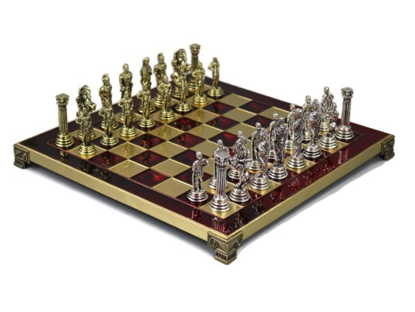 ruby red metal chess set