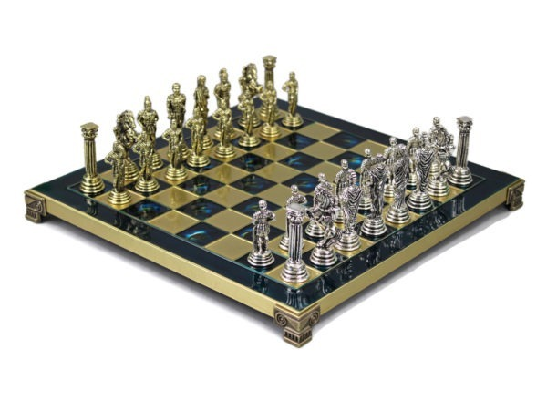 sapphire blue metal chess set