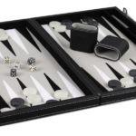 """Leather Range Backgammon Set """"Graphene Grey""""- 15″"""