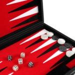 """Leather Range Backgammon Set """"Royal Red""""- 15″"""