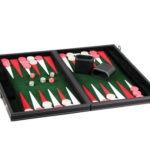"Leather Range Backgammon Set ""Malachite Green"" – 15″"