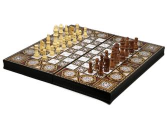 "Classic Range Chess & Backgammon Set ""Mother of Pearl"" – 20″"