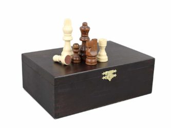 """Chess Pieces With Storage Box """"Wooden"""""""