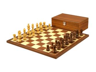 Economy Range Wooden Chess Set Mahogany Board 16″ Weighted Sheesham German Staunton Pieces 3″