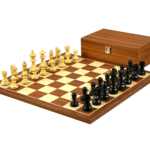 Economy Range Wooden Chess Set Mahogany Board 16″ Weighted Ebonised French Knight Pieces 3″