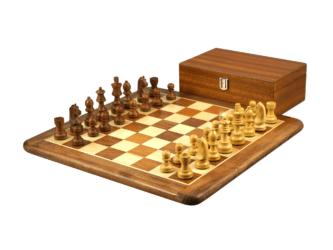 Original Range Chess Set Sheesham Flat Board 16″ With Downhead German Staunton Chess Pieces 3″