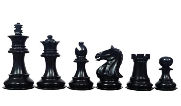 ebonised fierce knight staunton chess pieces