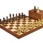 Master Range Wooden Chess Set Mahogany Board 21″ Weighted Sheesham Staunton French Knight Pieces 3.75″
