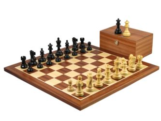 Master Range Wooden Chess Set Mahogany Board 21″ Weighted Ebonised Atlantic Series Classic Staunton 3.75″
