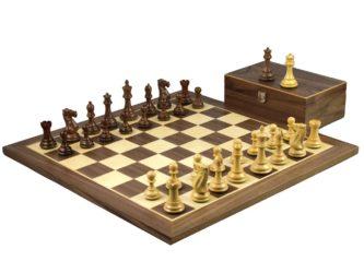Master Range Wooden Chess Set Walnut Board 21″ Weighted Sheesham Morphy Series Professional Staunton Pieces 3.75″