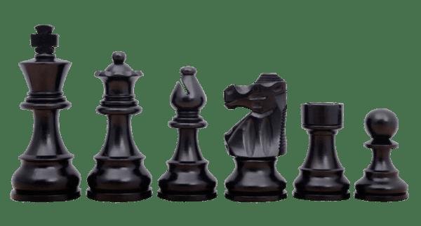 ebonised french lardy staunton chess pieces