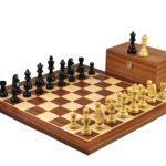 Master Range Wooden Chess Set Mahogany Board 21″ Weighted Ebonised German Staunton 3.75″