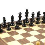 Master Range Wooden Chess Set Walnut Board 21″ Weighted Ebonised Staunton German Staunton Pieces 3.75″