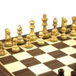 Master Range Wooden Chess Set Walnut Board 21″ Weighted Sheesham Staunton French Knight Pieces 3.75″